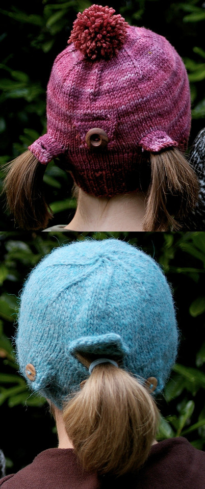 ponytail hat knitting patterns