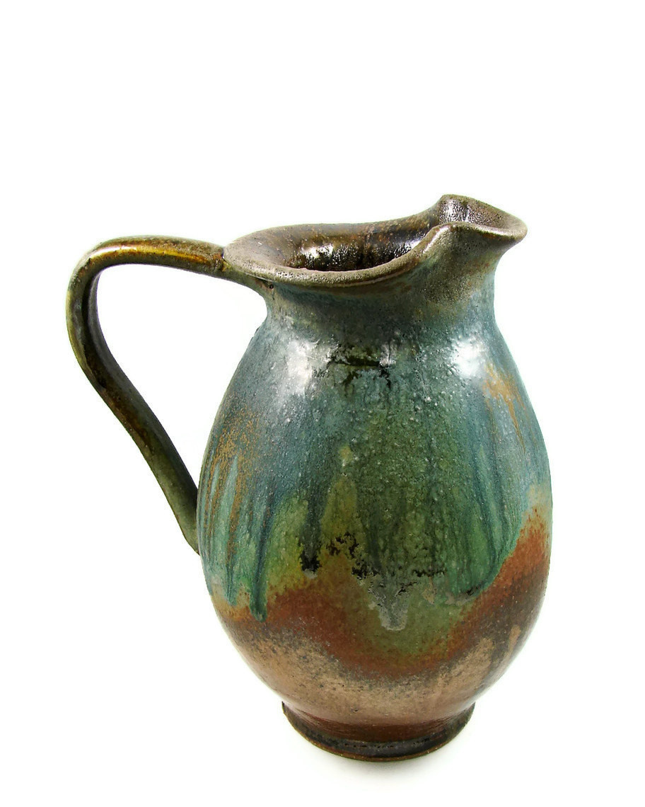 Copper Green Ceramic Pitcher Jug Over a Quart