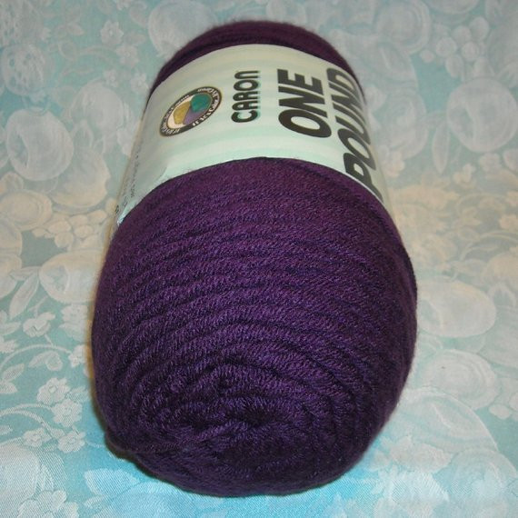 1 Skein Caron e Pound Yarn 16 Oz Solid Dark Purple Color