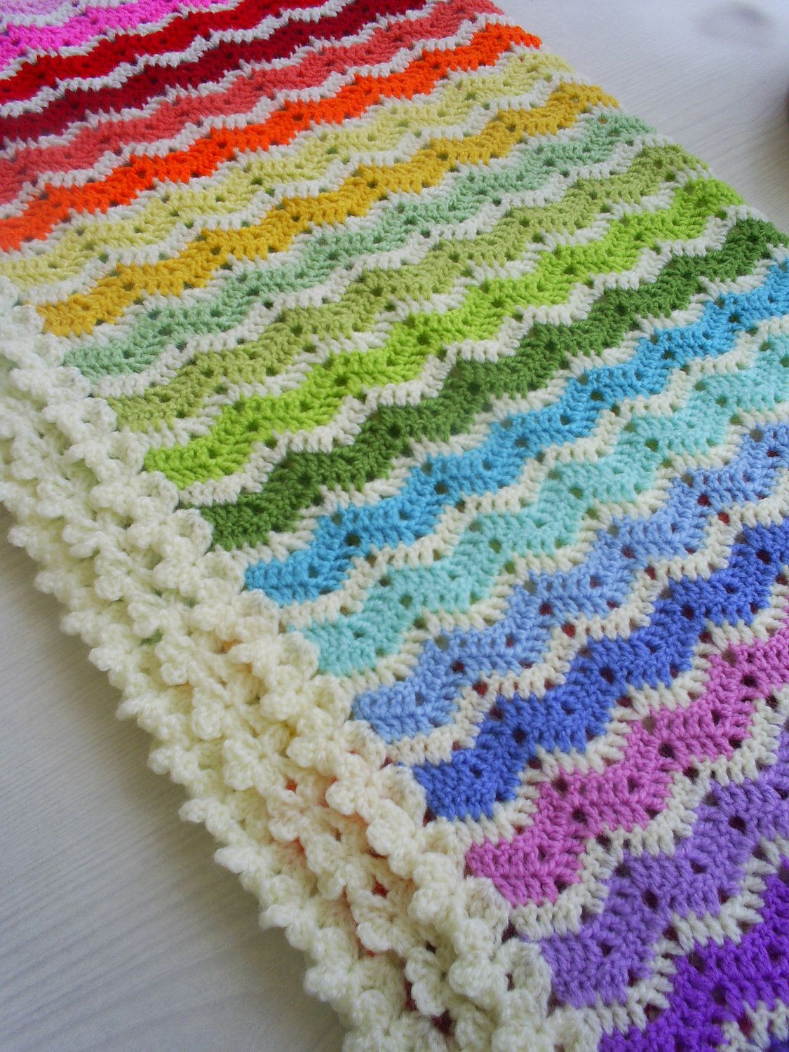 Rainbow Baby Blanket Crochet Pattern Inspirational the Rainbow Ajour Ripple Baby Blanket Afghan Of Attractive 46 Models Rainbow Baby Blanket Crochet Pattern