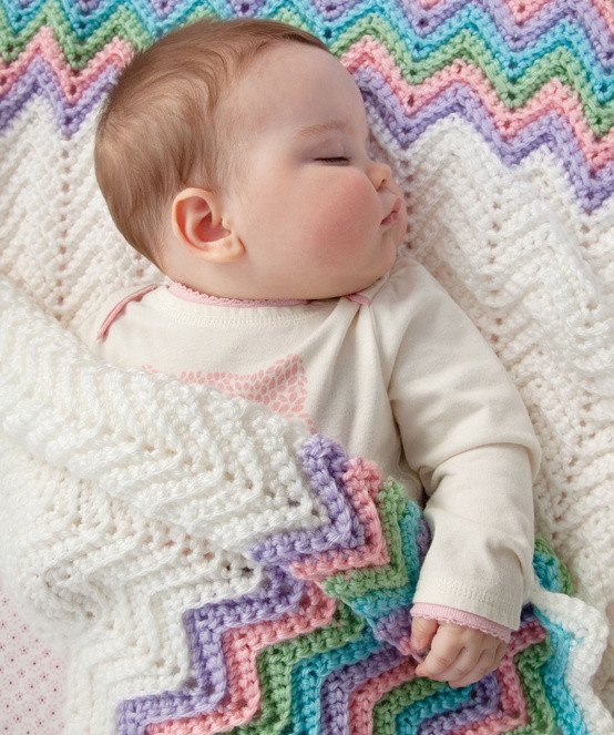 Lady Anne s Cottage Rickrack Rainbow Baby Blanket Crochet