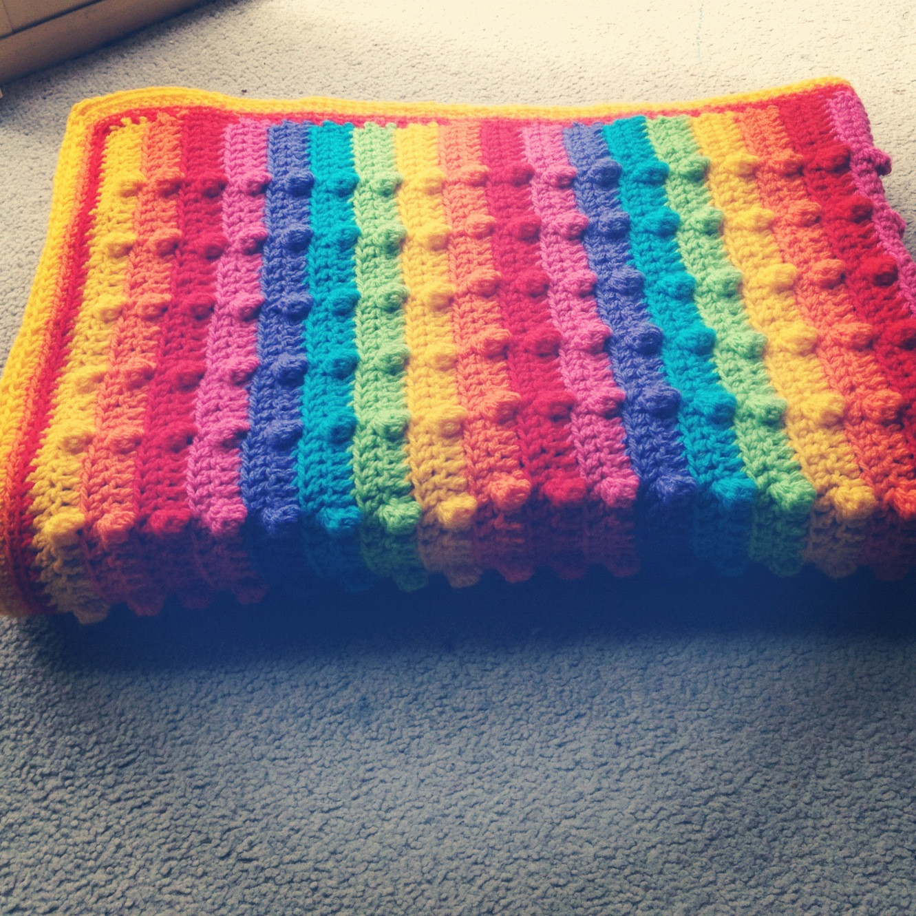 Rainbow Baby Blanket Elegant Three Beans In A Pod Bumpy Rainbow Blanket Tutorial Of Charming 42 Ideas Rainbow Baby Blanket
