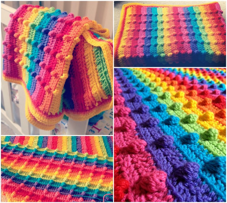 Rainbow Baby Blanket Inspirational Bobble Stitch Rainbow Blanket Of Charming 42 Ideas Rainbow Baby Blanket