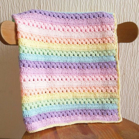 Crochet Rainbow Baby Blanket Pattern By Flavia Dancox for