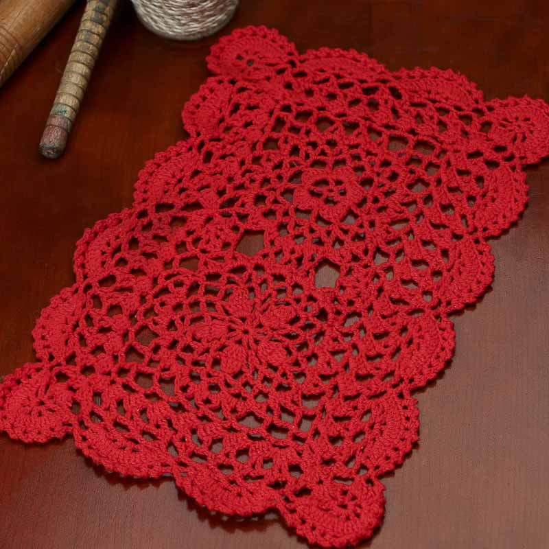 Red Rectangular Crocheted Doily Crochet and Lace Doilies