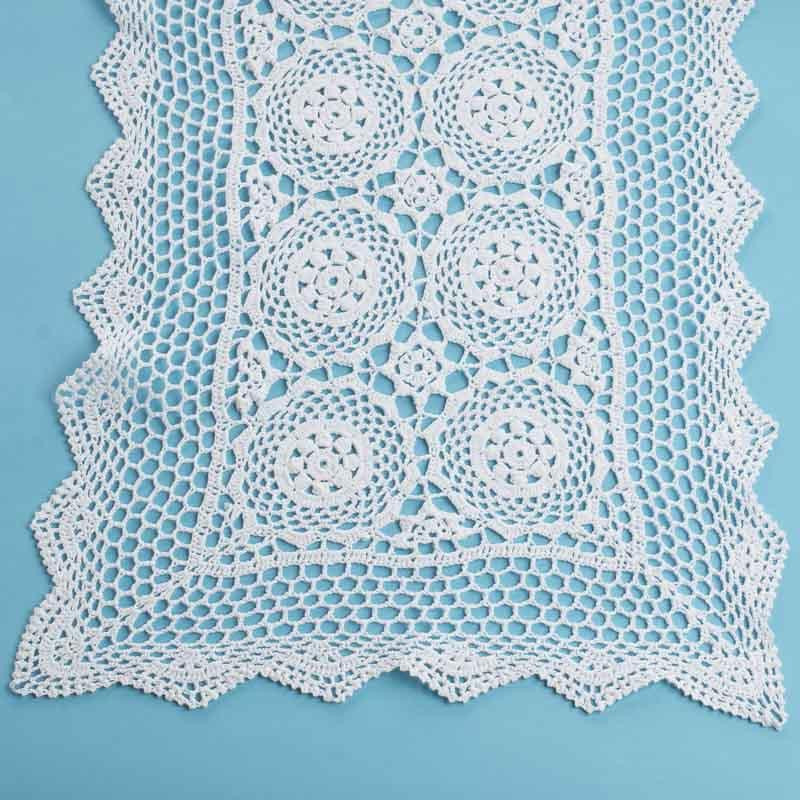 White Rectangular Crocheted Doily Crochet and Lace