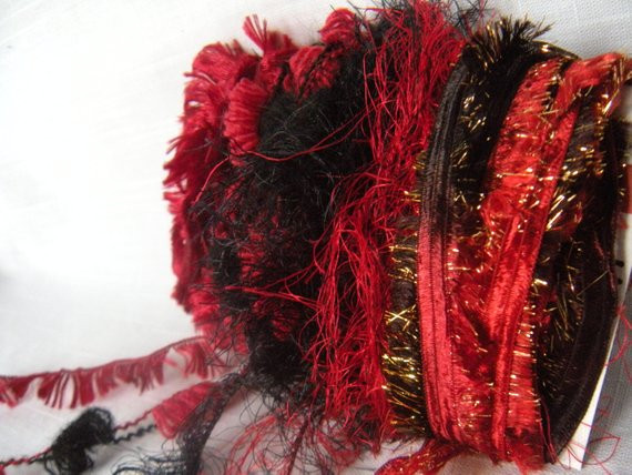 Red and Black Yarn Luxury Yarn Scraps Red and Black Fiber Embellishments by Of Lovely 45 Images Red and Black Yarn