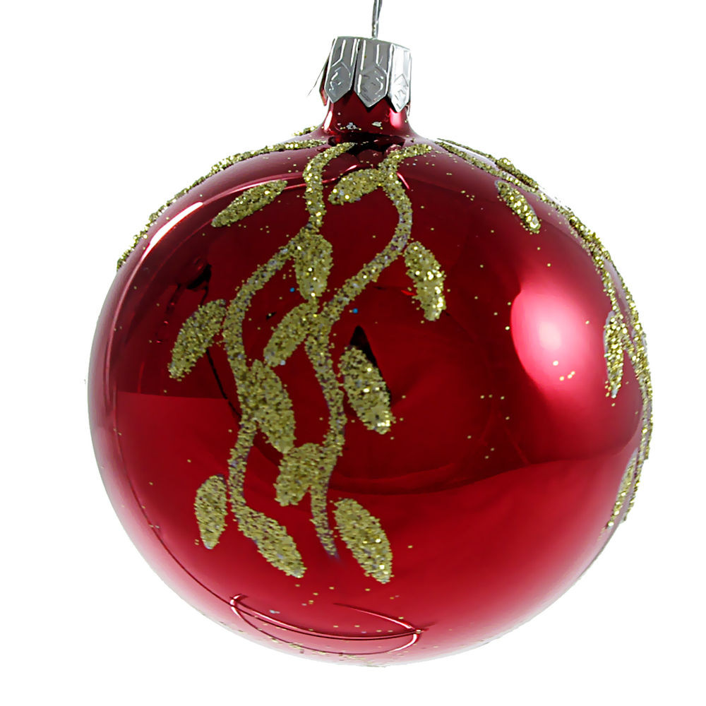 """""""Willow"""" Glass Christmas Ball Ornament red glossy"""