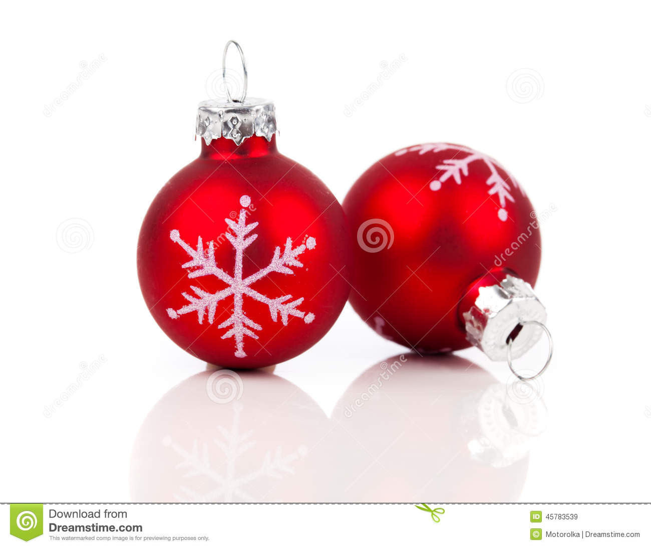 Two Red Christmas Decoration Balls Stock Image Image