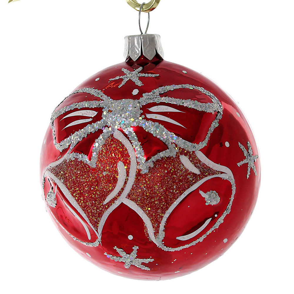 "Red Christmas ornaments Luxury ""jingle Bells"" Glass Christmas Ball ornament Red Of Delightful 47 Photos Red Christmas ornaments"