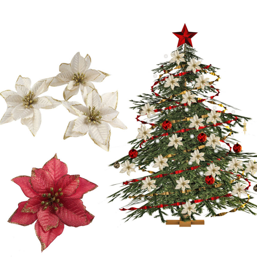 Red Christmas Tree ornaments Awesome Aliexpress Buy Ourwarm 20pcs Red Glitter Poinsettia Of Attractive 44 Pics Red Christmas Tree ornaments