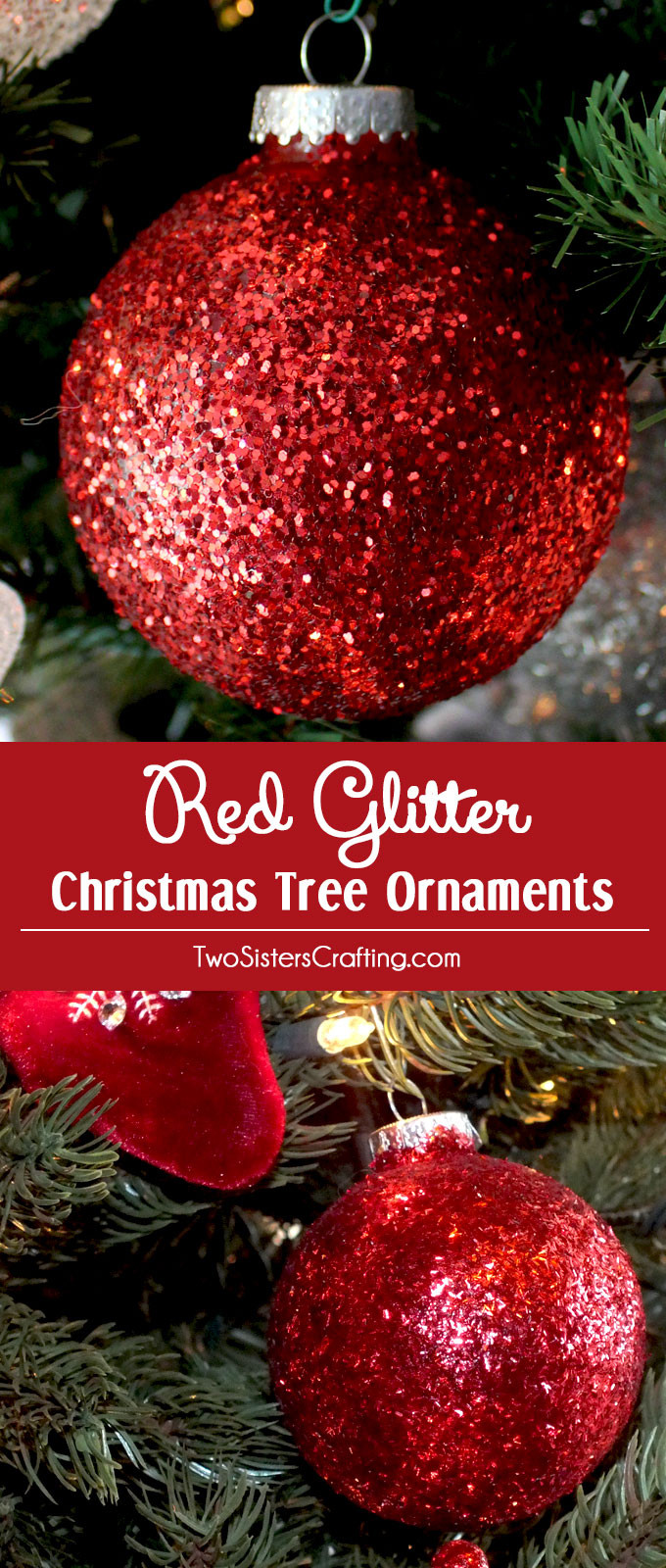 Red Christmas Tree ornaments Beautiful Red Glitter Christmas Tree ornaments Two Sisters Of Attractive 44 Pics Red Christmas Tree ornaments