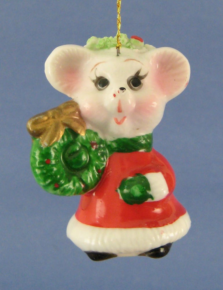 Mouse Christmas Tree Ornament Red White Dress Green Wreath