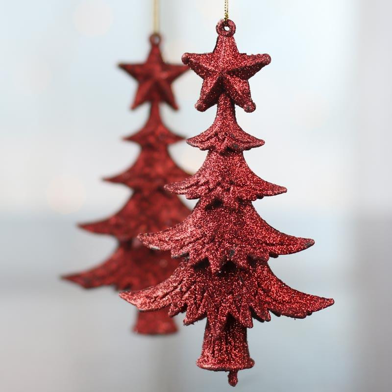 Red Glittered Christmas Tree Ornaments Christmas and