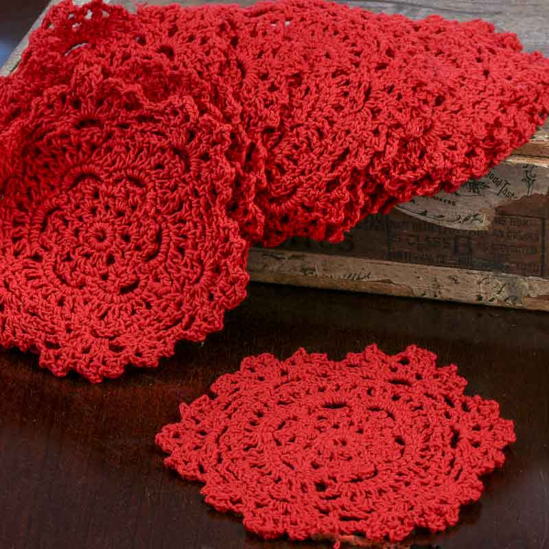 Red Round Crocheted Doilies Crochet and Lace Doilies