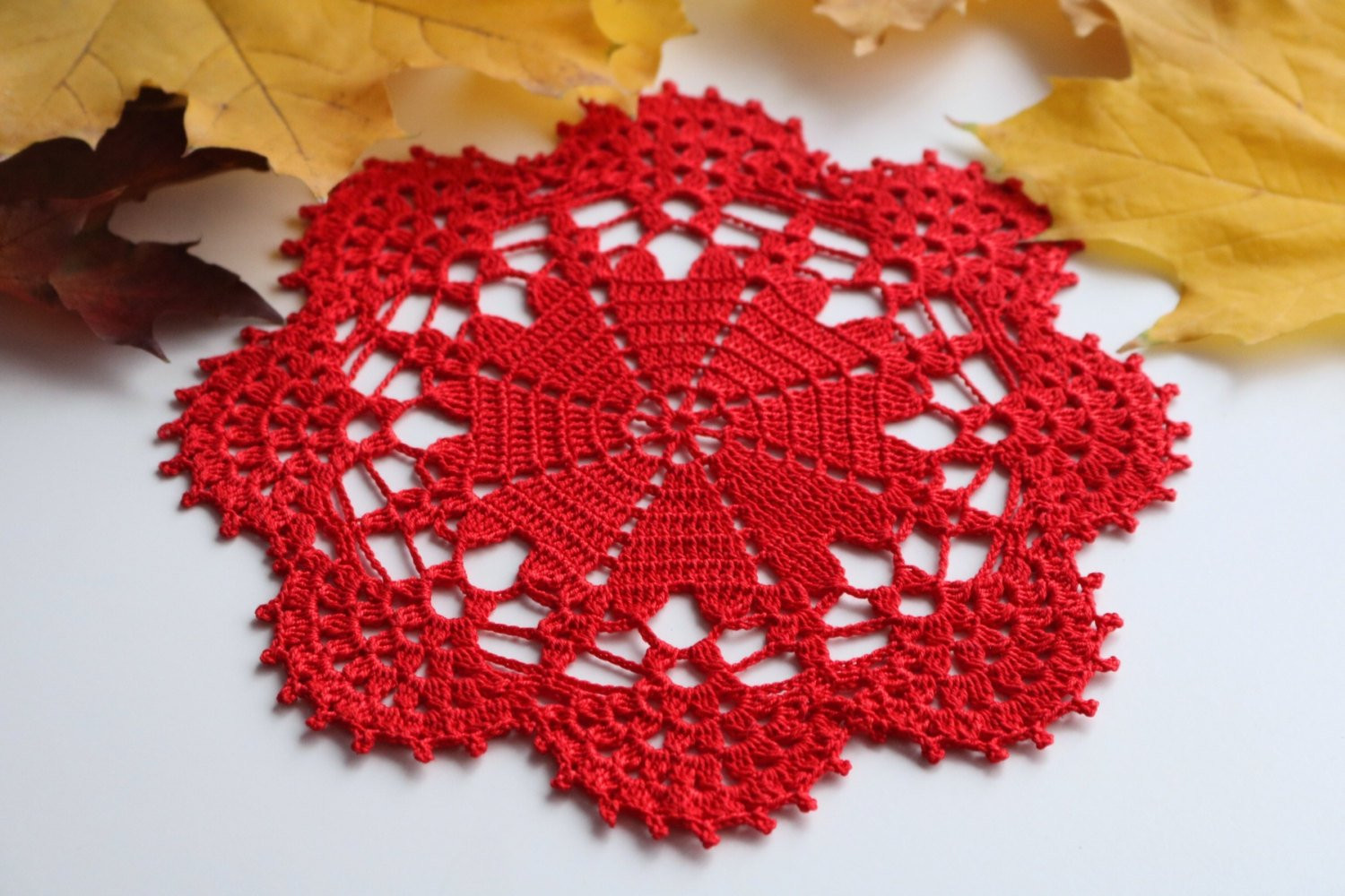 Red mini doily Crochet doily valentine s day doily wedding
