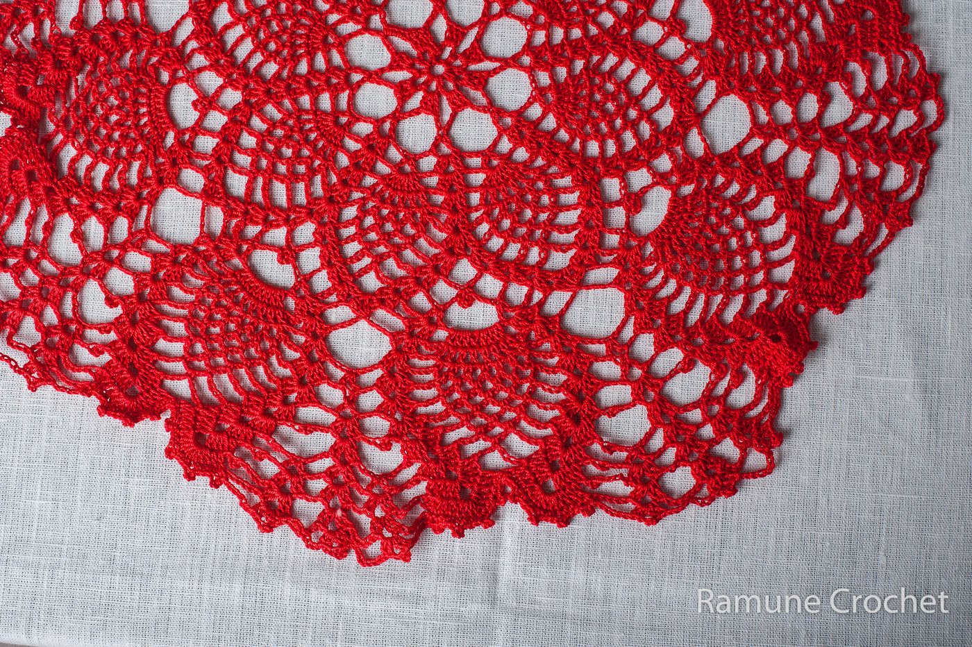 red cotton doily crochet crocheted