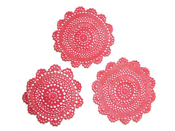 Red Doilies Lovely 3 Red Coral Crochet Doilies Vintage Hand Dyed Doilies Of Luxury 43 Images Red Doilies