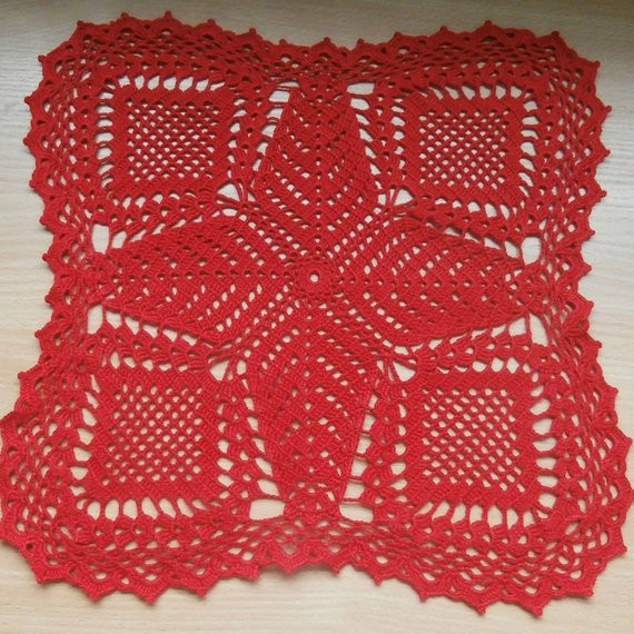 Red Doilies New Red Crochet Doily Square Doily Lace Doily Home Decor Table Of Luxury 43 Images Red Doilies