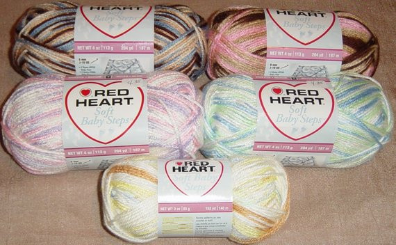 Red Heart Yarn Baby Soft Steps Yarn Pink baby Yarn Blue Yarn