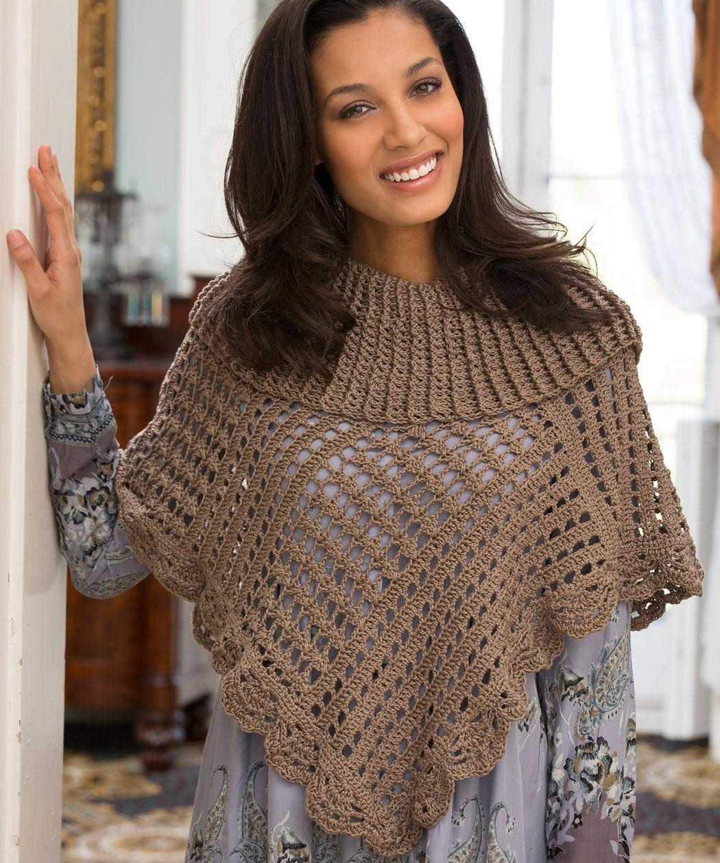 red heart crochet poncho