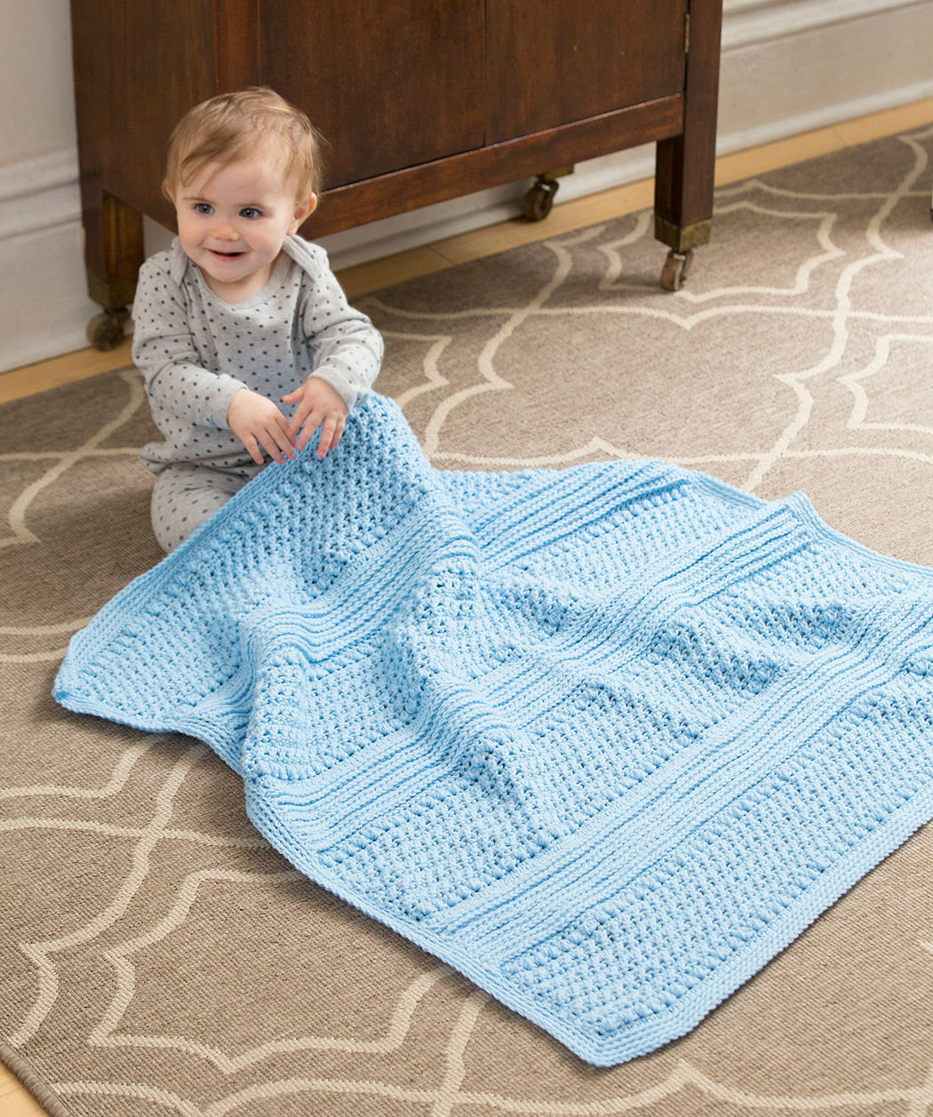 LW5055 Faux Ribbed Baby Blanket Free Crochet Red