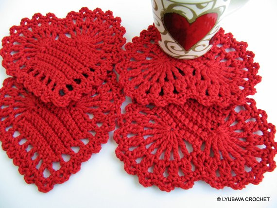 Red Heart Crochet Patterns Unique Red Heart Coasters Pattern Crochet Heart Diy Gift Easy Of Charming 49 Models Red Heart Crochet Patterns