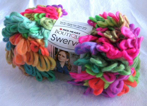 Red Heart Swerve yarn DAZZLE super bulky loopy yarn by