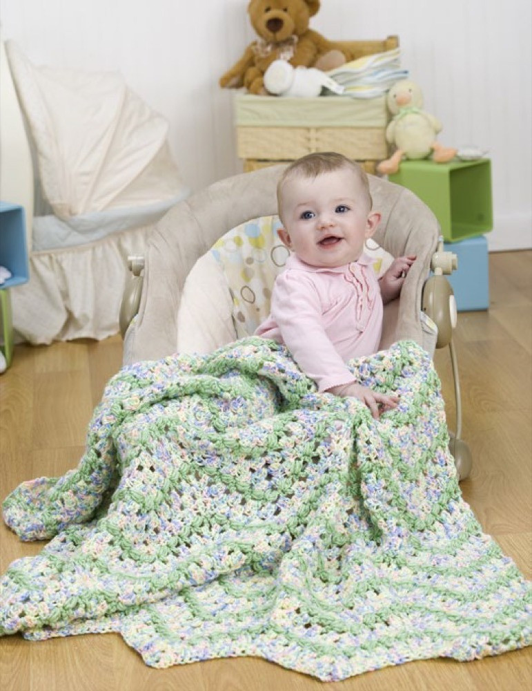blissful baby afghan in red heart soft baby steps prints wr1866