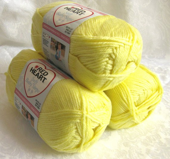 Red Heart Soft Baby Steps yarn BABY YELLOW medium by