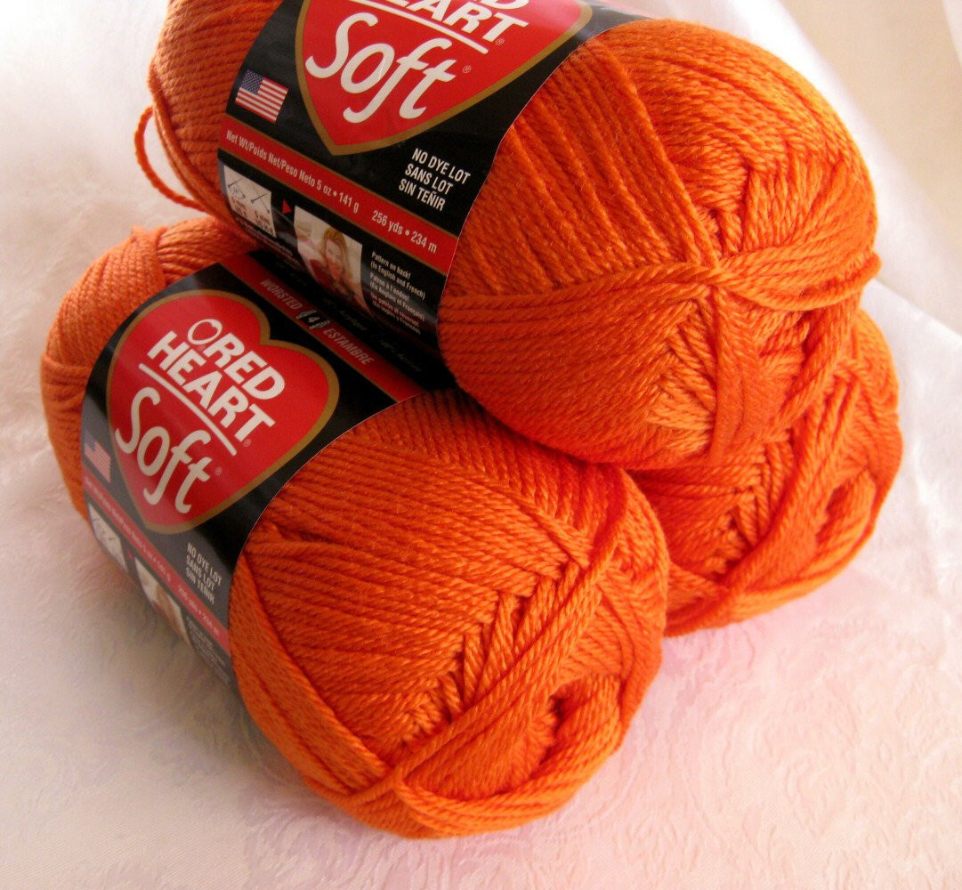 Red Heart Soft TANGERINE yarn medium worsted weight by