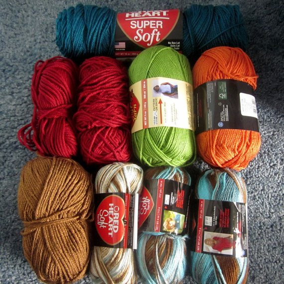 Red Heart Soft Yarn Lot of 9 full and partial by mycraftbin