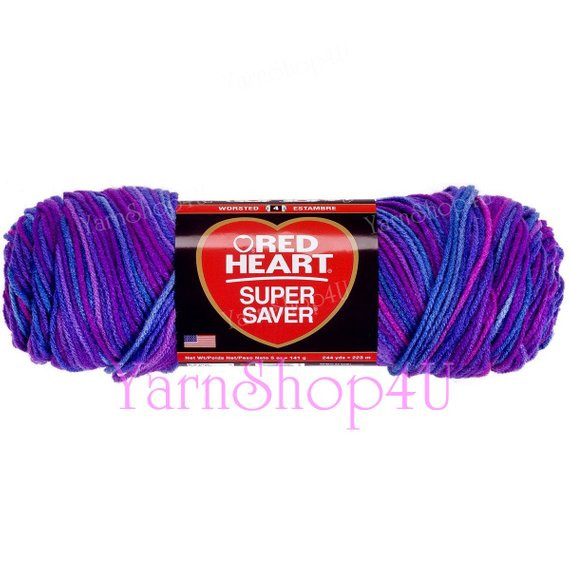 GRAPE FIZZ Red Heart Super Saver Shades of Purple Multi