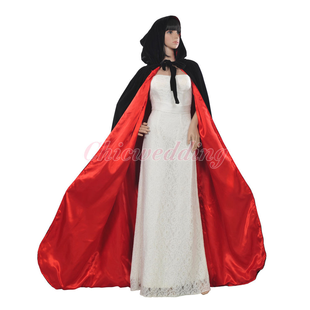 Black&Red Hooded Velvet Wedding Cloak Wicca Robe Me val