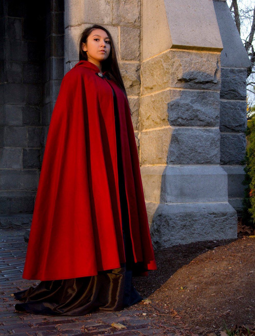 Red Cloak Half Circle Cloak Wool Cloak Hooded Cloak