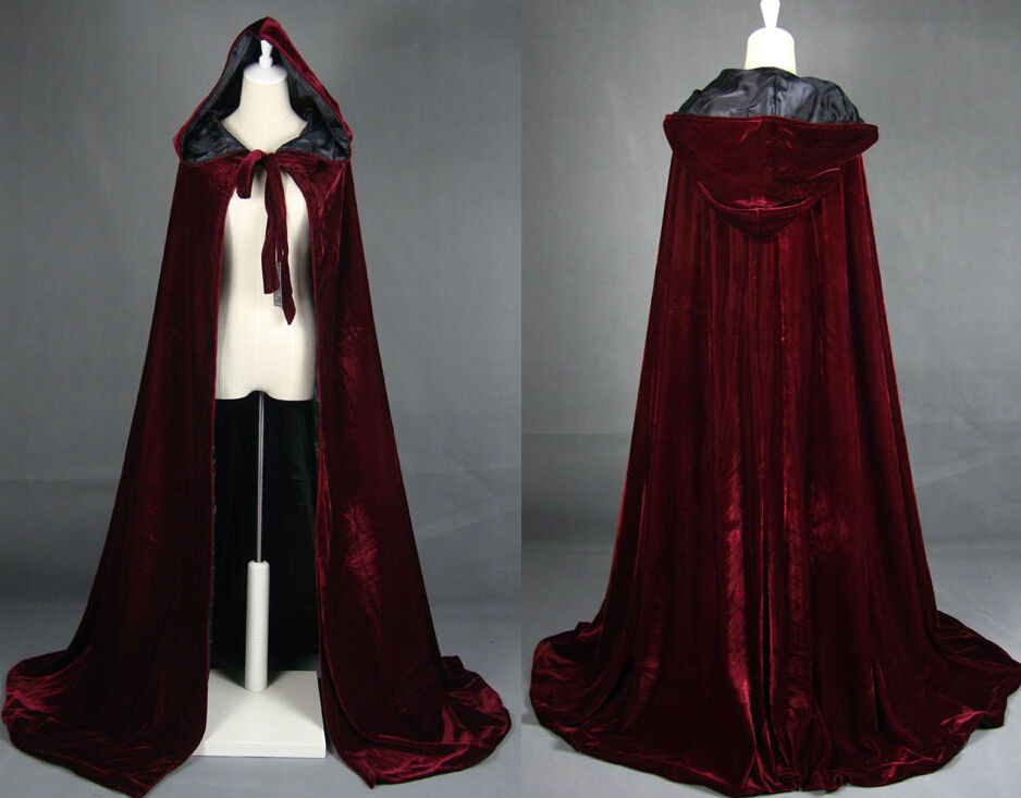 Wine red black velvet hooded cloak wedding cape Halloween