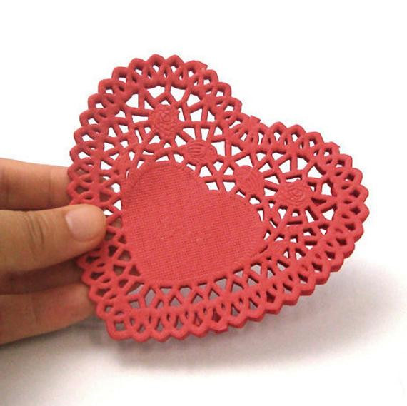 Rose Heart Paper Doilies 4 inch 50 sheets Red by