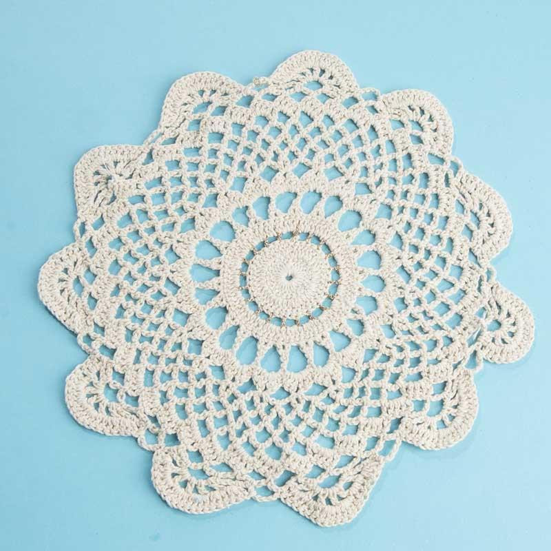 2026 2469 round gold accented ecru crocheted doily