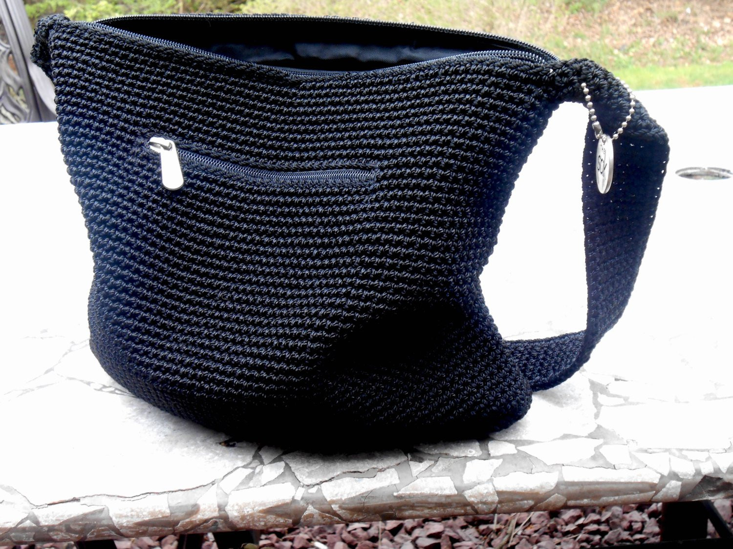 The Sak Purse Crochet Black Purse 1980s The Sak Retro