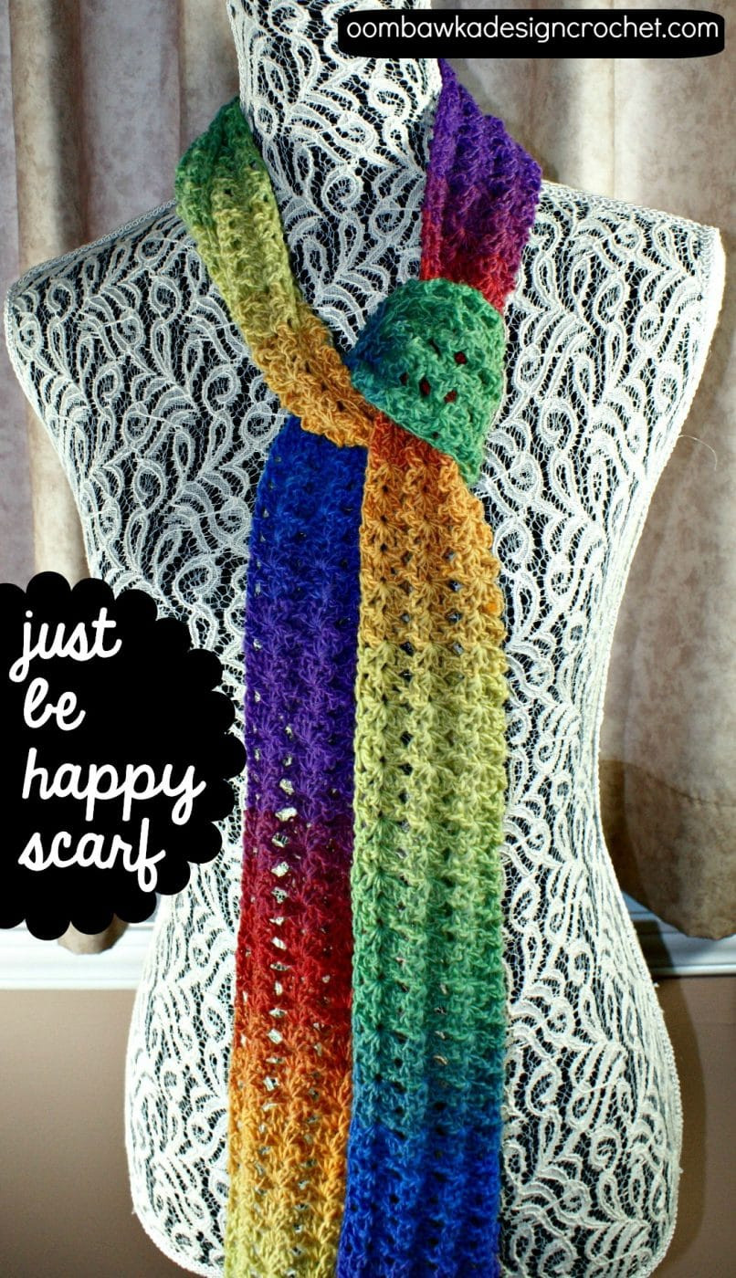 Just be Happy Scarf Pattern • Oombawka Design Crochet