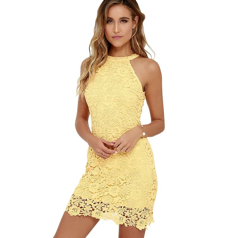 Sexy Crochet Dress Beautiful Y Club Yellow Lace Dress Halter Crochet evening Party Of Awesome 45 Pictures Sexy Crochet Dress