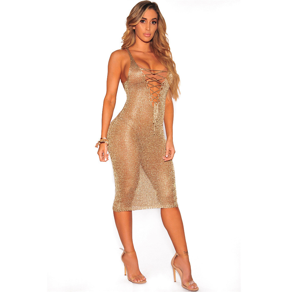 y Lace Up Tunic Gold Crochet Beach Dress Women Hollow