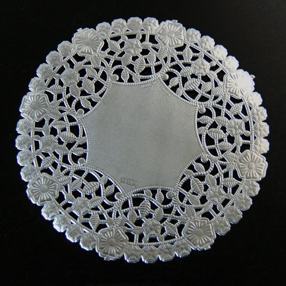 6 Decorative Silver Metallic Doilies 25 Quantity
