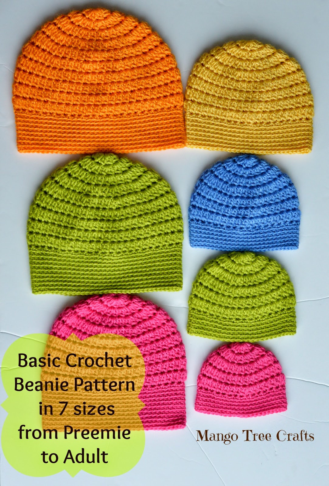 Mango Tree Crafts Free Basic Beanie Crochet Pattern All Sizes