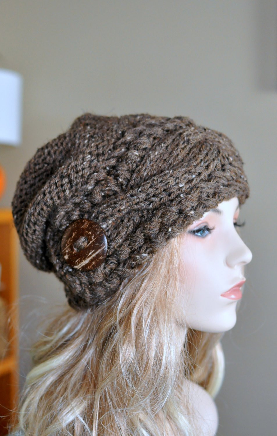 Slouch Hat Best Of Slouchy Women Hat Slouch Beanie Cable button Hat Hand Knit Of Top 49 Models Slouch Hat