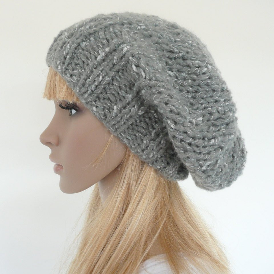 Slouch Hat Fresh Hand Knit Slouch Hat Gray Slouch Beret Slouch Beanie Of Top 49 Models Slouch Hat