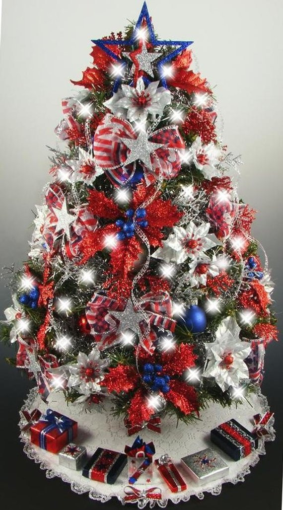 Decorated Mini Tabletop Christmas Tree Patriotic 4th of July