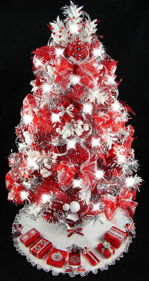 Small Decorated Christmas Trees Best Of Mini Tabletop Christmas Tree Red & Silver Snowflakes 50 Of Charming 48 Models Small Decorated Christmas Trees