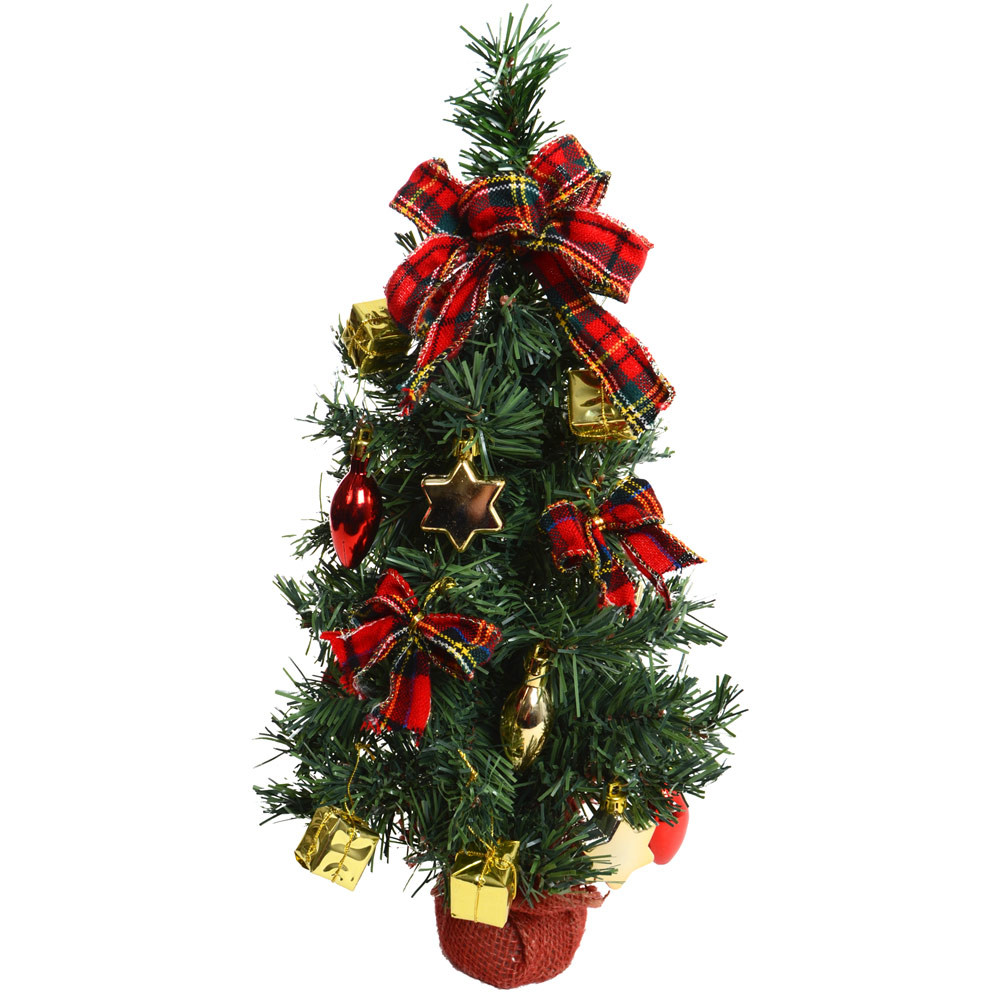 """Small Decorated Christmas Trees Elegant 45cm 18"""" Decorated Artificial Desk Table top Green Mini Of Charming 48 Models Small Decorated Christmas Trees"""