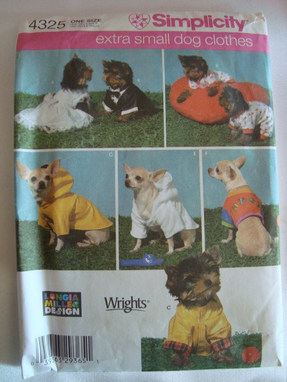 Simplicity Pattern Small Dog Clothes Wedding by